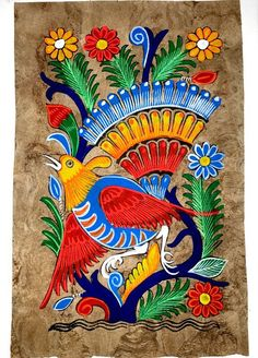 Mexican Amate Bark Painting on Canvas by MISCRoot on Etsy