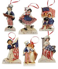 Bethany Lowe Americana Die Cut Ornament Set of 6 - A perfect addition for your Americana tree. Great for Fourth of July and Flag Day too!