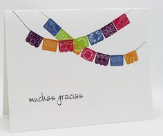 "This stationery features ""Papel Picado"" a traditional folk art from Mexico that involves cutting out intricate patterns on colorful tissue paper. The tissue paper is then hung on a string to form banners which are used as decorations for important festivities throughout the year."