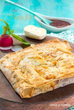 Pañuelos de pasta filo con jamón y queso