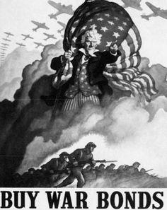 World War I and World War II Related Images: War Bonds Poster 1942. #ww2 #war #bonds #poster