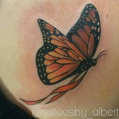 Multiple sclerosis support ribbon butterfly tattoo by Albert at Tattoos Forever in Fort Walton Beach, Florida. www.tattoosforever.com