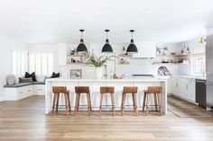 Open Shelving Rocks in this Oak Hills Kitchen Remodel: Modern white kitchen with subway tile + statement lighting by Lindsey Brooke Design Boho Kitchen, Diy Kitchen, Kitchen Interior, Kitchen Decor, Kitchen Counters, Kitchen Ideas, Kitchen Backsplash, 1960s Kitchen, Kitchen Cabinetry