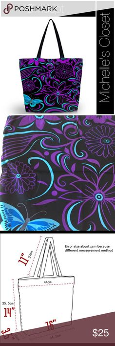 "Dark blooms Tote Polyester composite fiber zippered tote.  Two layers of fabric-black lining.  Zippered compartment inside.  Black ribbon like straps, 1"" wide. Lightweight and stylish for various needs.  New in packaging, boutique item thus no tags.  Fabric has slight sheen.  Second pic actual colors. Bags Totes"