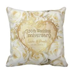White Rose Magnificence - fiftieth Wedding ceremony Anniversary Throw Pillow.  Take a look at more at the picture