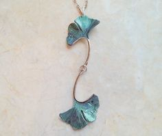 """Ginkgo Leaf Necklace - Forest Green Ginkgo Leaves w/ Rhodium Plated Chain 18"""" Length - Nature Jewelry - Hand Painted Iridescent Leaves"""