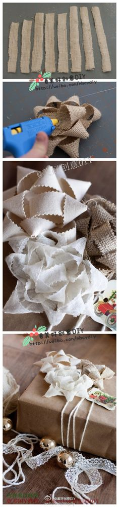 Making gift bows with natural fabrics (cotton twill, linen, burlap)