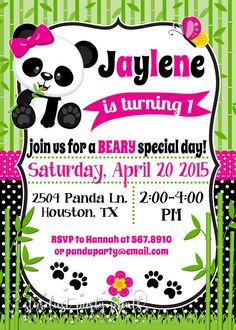 Panda Birthday Invitation Panda Invitation Panda Baby Shower