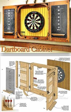 Woodworking with easy wood projects plans is a great hobby but we show you how to get started with the best woodworking plans to save you stress & cash on your woodworking projects Dartboard Cabinet Plans, Dartboard Setup, Dartboard Ideas, Pallet Projects, Home Projects, Welding Projects, Dart Board Cabinet, Workshop Organization, Woodworking Tips
