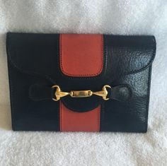 ee5bf5d1e Gucci Wallet Vintage Navy / Red Clutch. Get the trendiest Clutch of the  season! Tradesy
