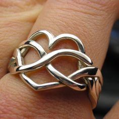 Sterling silver heart infinity puzzle ring by Nellyvansee, Canada - on Etsy Puzzle Ring, Infinity Heart, Vintage Rings, Beautiful Rings, Handmade Silver, Custom Jewelry, Vintage Ladies, Jewelry Rings, Silver Rings