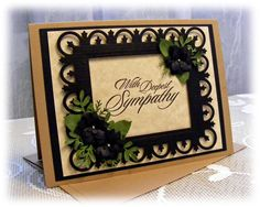 Gorgeous Handmade Sympathy Card with 3D flowers and frame. $3.95, via Etsy.