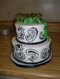 Black & white paisley wedding shower cake