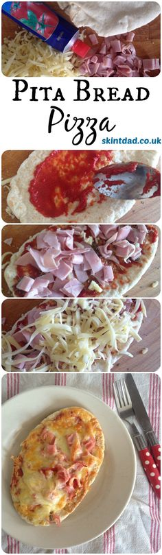 Pita Bread Pizza a quick, easy and cheap lunchtime meal that kids can help to prepare Healthy Snacks, Healthy Recipes, Cheap Recipes, Frugal Recipes, Easy To Cook Recipes, Cheap Quick Meals, Healthy Cheap Meals, Easy Kids Meals, Cheap Family Meals