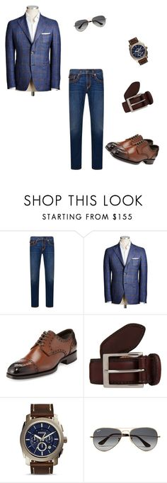 """Smart casual men style"" by aikamini on Polyvore featuring True Religion, Tom Ford, Harris, FOSSIL, Ray-Ban, mens, men, men's wear, mens wear and male"