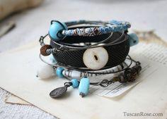 Ocean set 8a  - Bangle Stack - set of 10 Bangles - mermaid gypsy bracelets. $42.00, via Etsy.