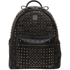 MCM Small Studded & Swarovski Backpack ($1,790) ❤ liked on Polyvore featuring bags, backpacks, mcm, accessories, black, black rucksack, leather backpack, black leather backpack and leather knapsack