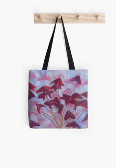 """Oxalis / Purple Shamrock, floral art, blue, pink & burgundy"" Tote Bags by clipsocallipso 