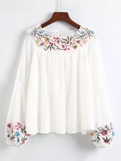 Embroidered Detail Lantern Sleeve Blouse 2019 clothing clothing labels clothing patches clothing wholesale flower clothing fly shirts shirts for ladies shirts sunshine coast style clothing tee shirts clothing Sommer Garten Hochzeits Kleider Embroidered Clothes, Embroidered Blouse, Embroidery Fashion, Embroidery Dress, Kurta Designs, Blouse Designs, Petite Outfits, Blouse Styles, Cardigans For Women