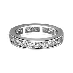 A brilliant cut diamond full eternity ring, combined weight of diamonds 1.51-2.03 cts*, mounted in a platinum channel setting, bandwidth 4mm. * Ring size dependant