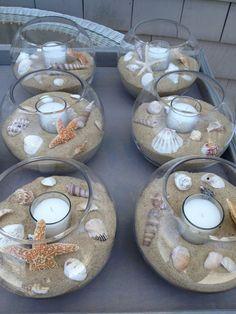 DIY beach themed Wedding Table Center Pieces - seashells, sand, tea light candles, glass bowls
