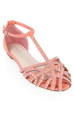 multi front strap flat sandal with studs
