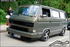 Lowered Grey VW at the Wörthersee Tour 2008 Volkswagen Transporter, Vw Bus T3, Transporter T3, Vw T3 Syncro, Volkswagen Bus, Vw T3 Tuning, Vw T3 Camper, Vw Lt, Old School Vans