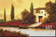 Lungo Il Fiume Tra I Papaveri Stretched Canvas Print by Furtesen at Art.co.uk
