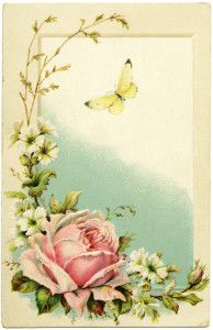Rose and Butterfly Loving Greetings Postcard (wording removed in this version) ~ Free Vintage Image