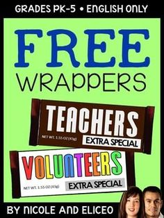 FREE Teacher Appreciation Gift Idea - This printable wrapper fits a standard size Hershey chocolate bar!