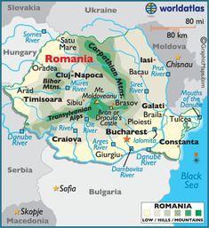Romania Map / Geography of Romania / Map of Romania Romania Facts, Romania Map, Zimbabwe Africa, Bulgaria, Logo Simple, Victoria Falls, Thinking Day, African Countries, Moldova