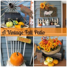 Organized Cluter - Decorating the front patio with vintage and fall decor.