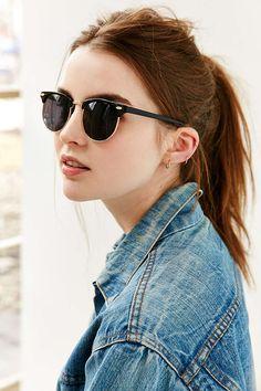 Skylar Half-Frame Sunglasses - Urban Outfitters_ BROWN