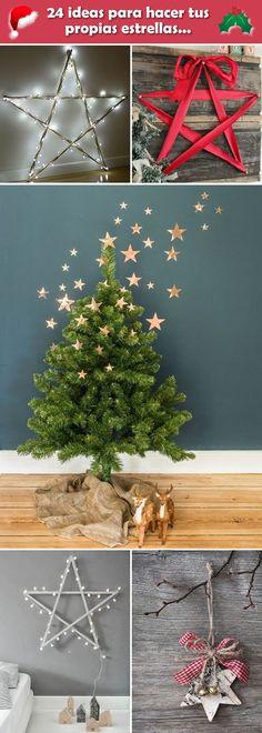 Manualidades navideñas. Ideas para hacer tus propias estrellas navideñas. Estrellas de Navidad caseras. #navidad #manualidades #manualidadesnavidad