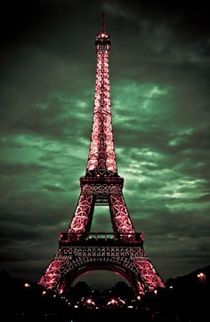 Eiffel Tower in pink.