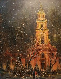 Snowfall In Cathedral Square Milwaukee ~ Tom Shropshire