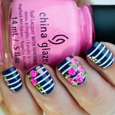 Nautical Rose Nails via #paulianspassions #Stripes #navy #polish #chinaglaze #pink #nailart - bellashoot.com