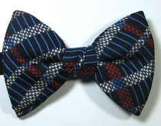 ULTRA RARE Rich Navy Blue White Red Stripe Geometric  Vintage Bow Tie RARE #unbranded #BowTie