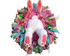 Crochet easter wreath door decoration easter door wreath door | Etsy Easter Garland, Easter Bunny Decorations, Easter Wreaths, Easter Decor, Easter Ideas, Valentine Day Wreaths, Holiday Wreaths, Spring Wreaths, Valentines