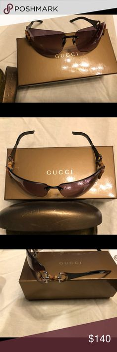 Gucci Sunglasses Very fashionable Gucci sunglasses. In great condition, barely worn. Bamboo D ring on both sides. Sunglass class has nicks from being carried in my handbag but no damage or flaws to actual sunglasses. Gucci Accessories Sunglasses