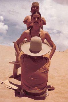 El Topo [1970] directed by Alejandro Jodorowsky, starring Alejandro Jodorowsky, Alfonso Arau, Brontis Jodorowsky, and Jose Legarreta.