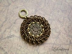 Steampunk chainmaille pendant.
