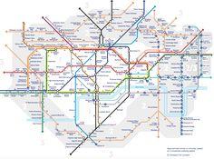 Le temps de parcours à pied entre chaque station du métro londonien