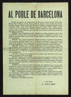 Al poble de Barcelona : ...Barcelona, 3 de setembre de 1931 : L'Alcalde, J. Aguadé :: Cartells (Biblioteca de Catalunya)