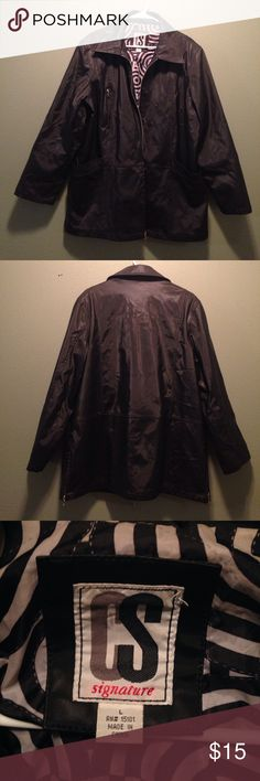 CS Signature Long Black Slicker Jacket Large This item is in great condition! It is all black with a black and white design on the interior lining. It is long and has a slick material that water slides off of. Size large. Do not miss this deal! Make an offer! CS Signature Jackets & Coats