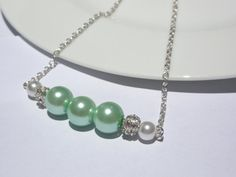 Necklace Bridesmaid Necklace Mint  Pearl by StunningGemsJewelry