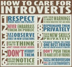 "How to Care For The Introverts in Your Life .a really great infographic for dealing with the different personality types in your life. ""Are You An Introvert Or An Extrovert? What It Means For Your Career"" -Wash. Info Board, The Words, Just In Case, Just For You, Extroverted Introvert, Infj Infp, Def Not, Good Advice, Thoughts"