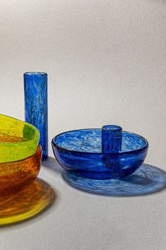 """Beirut studio T Sakhi combined Venetian Murano glass with recycled metal threads and powder to create two """"uncontrolled"""" collections of textured glassware. Organic Shapes, Murano Glass, Colored Glass, Decorative Accessories, Decorative Bowls, Metal, Tableware, Beirut, Factories"""