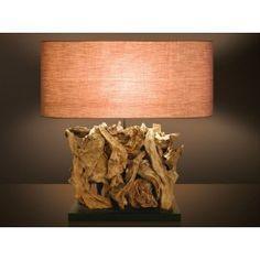 Επιτραπέζιο φωτιστικό MICHELLE από φυσικό ξύλο και ύφασμα Decor, Table, Lamp, Lighting, Home Decor