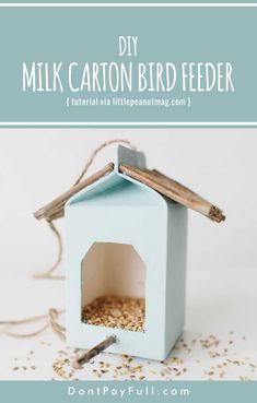 DIY Milk Carton Bird Feeder #dontpayfull #diy #homemade #birdfeeder
